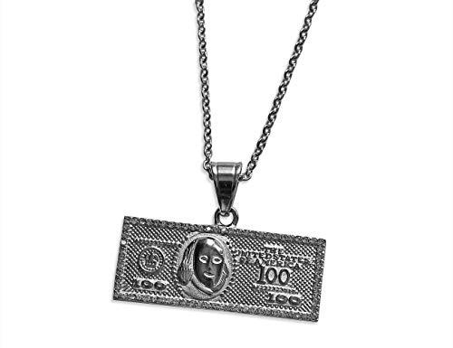 Original Bahnmüller Edelstahl Halskette Ø 2mm 40-75cm mit 100 Dollar Schein Anhänger 45 x 19mm in Silber (1493-2) (70)