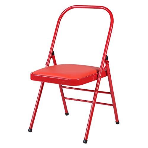 ZLBZBB Klappbarer tragbarer Yoga-Stuhl, spezieller Fitness-Stuhl, zusätzlicher Fitness-Stuhl, Haus, Büro, Stuhl aus verstärktem Metall, 175 kg tragend Red