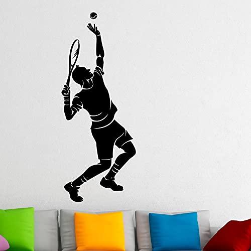 Jugador de tenis, calcomanía de pared, raqueta, deportes, hogar, diseño de interiores, arte, pintura de pared, decoración del dormitorio, calcomanía A7 22x57cm