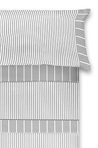 El Barco Juego de Sábanas Estampadas. Algodon - Poliester. 3 Piezas. Tamaño Matrimonio. Suave y Resistente. Bonito Diseño Baratas. Casablanca Gris. Cama 150 cm.