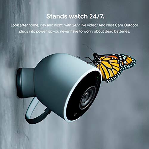Google Nest Cam Outdoor - Weatherproof Outdoor Camera for Home Security - Surveillance Camera with Night Vision - Control with Your Phone