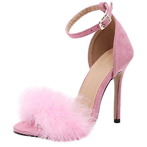 Fur Ball One Word Belt High Heels Sandals Ankle Strap Cover Open Toe Stiletto Pump Shoes,Pink,40