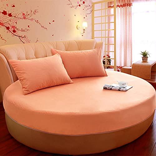 CYYyang Funda de colchón Anti chinches, Transpirable, Funda de Cama Redonda de una Pieza de algodón Puro-Naranja_2m