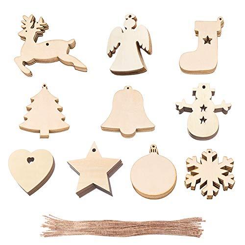Zasiene Decorazioni Albero Legno 100 Pezzi Decorazioni Albero di Natale Legno Decorazioni Ciondolo Albero di Natale Ciondoli Natale Legno Decorativi Appeso Artigianato