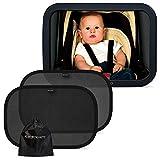 Systemoto Baby Safety Bundle, Rücksitzspiegel + Sonnenschutz Auto mit UV Schutz (2er Set) - Baby Auto Spiegel und Selbsthaftende Sonnenblenden für Kinder auf Rücksitz (Schwarz)