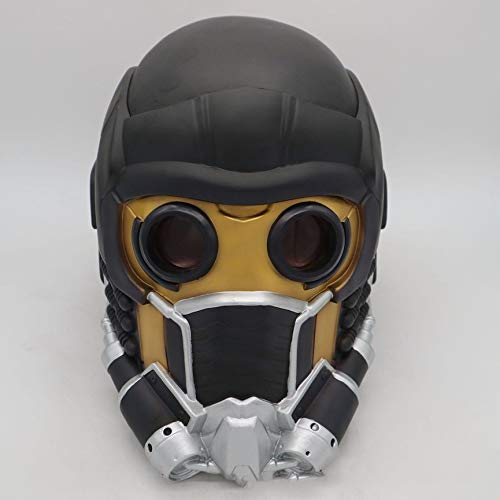 VCB Máscara de Halloween 2018 Galaxy Guard Star Lord Star Mask Cosplay Máscara de Miedo - Negro + Amarillo