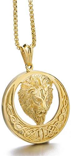 CCXXYANG Co.,ltd Collar Collar con Colgante De León Celta De Color Dorado para Hombre, Joyería con Relleno De Oro, 60 Cm