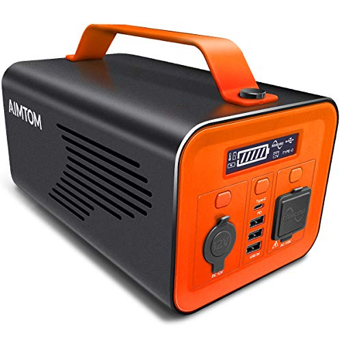 AIMTOM 230Wh Portable Power Station, 110V 200W AC, 60W USB-C Power Delivery, 12V DC Carport, Pure Sine Wave, Solar Rechargeable Battery Pack, Generator Alternative for Camping Travel RV Emergency