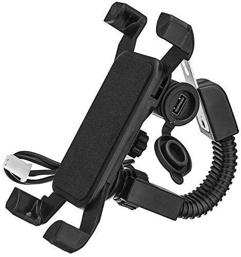 """LKMO® Activa Charging Rearview Mobile Phone Holder Mount Stand for All Bike, Motorcycle, Scooter Compatible with Universal Smartphones Size Upto 7"""" inch - Black"""