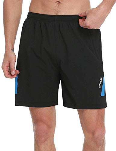 KPSUN Men's Workout Running Shorts Quick Dry Lightweight Gym Athletic UPF 50+ Hiking Shorts with Liner Zipper Pockets (Blue,L)