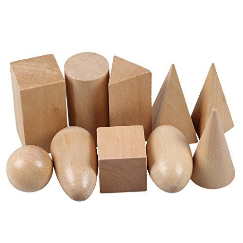 SODIAL Sac de mystere en bois Montessori Les blocs de geometrie etablissent des jouets cognitifs educatifs