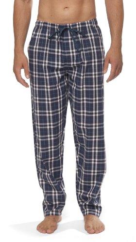 Moonline - Herren Webhose Freizeithose Loungewear aus 100% Baumwolle, Farbe:navy, Größe:54/56