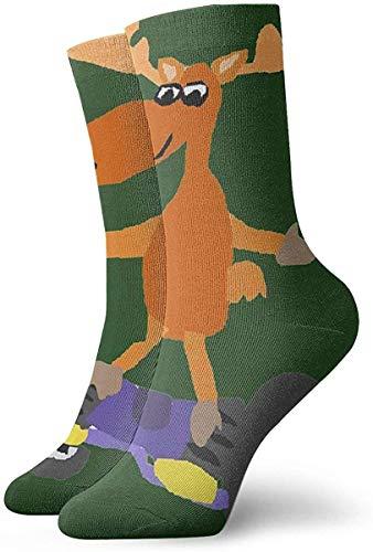 NA Cool Funny Moose On Motorized Skateboard Unisex Stocking Socks Colored Circle Ankle Socks Casual Cozy Crew Socks for Men, Women, Kids Length 30cm