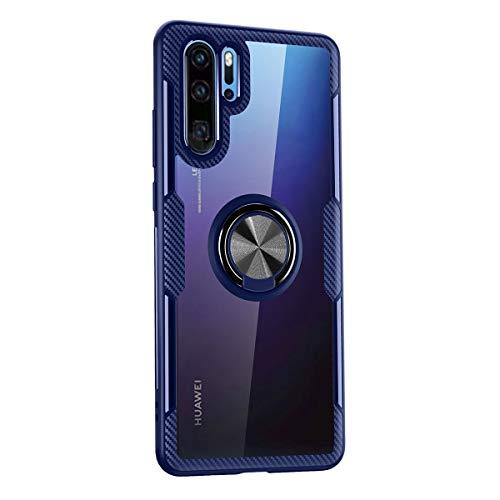 SHUNDA Capa para Huawei P30 Pro, capa traseira de TPU (poliuretano termoplástico) macia transparente com lentes temperadas [suporte magnético] capa à prova de choque para Huawei P30 Pro (6,4 polegadas) - azul + preto
