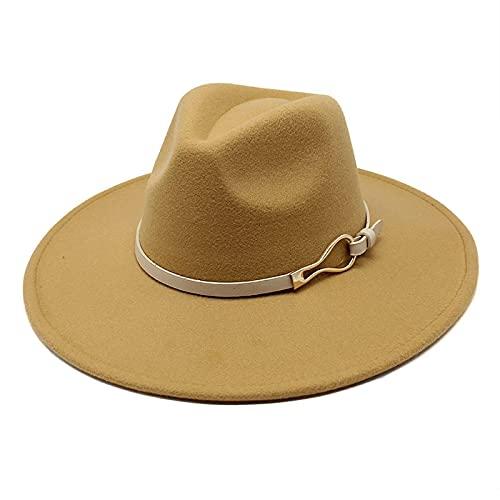 BUXIANGGAN Fedora Trilby Sombrero De Mujer 9,5 Cm De ala Grande Fieltro Jazz Fedora Sombreros Vestido Formal Sombreros De Boda para Mujer Sombreros De Mujer 56-58 Cm Camel
