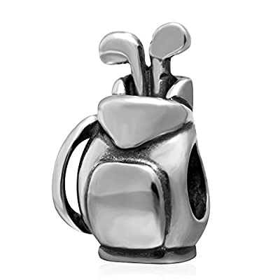 Golf Bag Charm Sport Beads 925 Sterling Silver Ball Beads fit for DIY Charms Bracelets