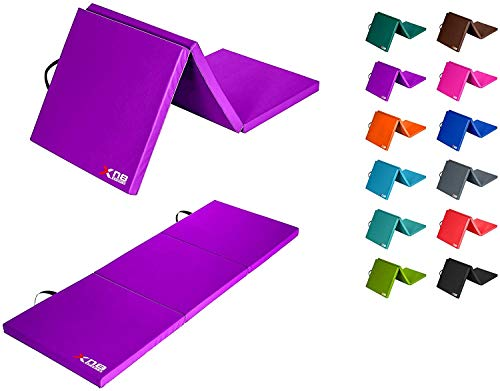 Xn8 Thick Tri Fold Folding Gymnastic Exercise Mat Tumbling Gym Yoga Mats With Carrying Handles Aerobic Stretching Workout Purple
