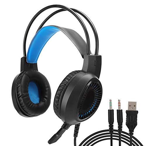 ASHATA Gaming Headset, 3,5 mm buntes, leuchtendes Gaming Headset USB-Kopfhörer-Kabelmikrofon für Laptop-PC, leichtes geräuschreduzierendes Over-Ear-Gaming-Headset V1000(Blau)