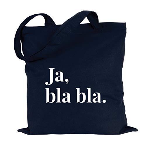 JUNIWORDS Jutebeutel, Wähle ein Motiv & Farbe, Ja, bla bla. (Beutel: Marine Blau, Text: Weiß)