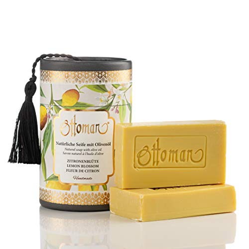 Natürliche Zitronenblüten Seife mit Olivenöl in nostalgischer Zylinderbox Handmade, Geschenkbox (2x75 gr)