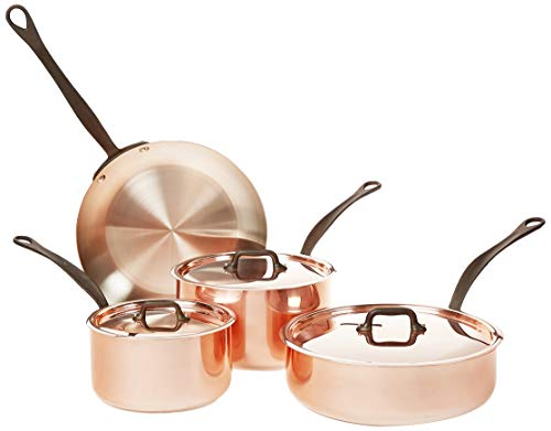 Mauviel 7 Piece Cookware set Cast stainless Steel Handle with Iron Color Finish, Copper