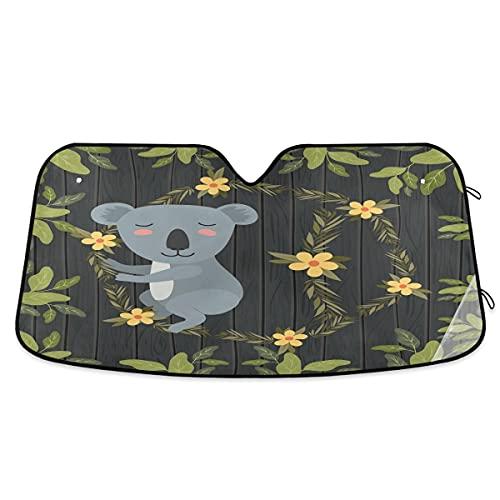 Parasol para parabrisas de coche, diseño de Koala en el bosque, bloquea el protector de visera plegable para mantener tu vehículo fresco, se adapta a parabrisas de la mayoría de tamaños