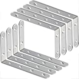 Pack of 8 Metal L Shelf Brackets, A <span class='highlight'>Selected</span> Stainless Steel Right Angle Corner Bracket with 48 Pcs Screws and 16 Pcs Anchors | 125 x 75 mm - White
