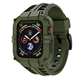 T-ENGINE Band Compatible with Apple Watch Band 44mm Series 4 Series 6/5/SE, TPU Rugged Sports Band with Full Protection Case for Men/Women, Army Green