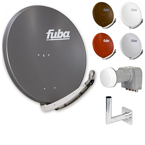 Fuba Digital HDTV Sat-Anlage 4 Teilnehmer | Fuba DAA 850 Premium Aluminium Sat-Antenne in Wunschfarbe + DEK 416 Quad LNB + Fuba DAZ Winkelwandhalter