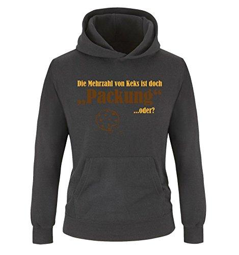 Comedy Shirts - Mehrzahl von Keks - Packung - Kinder Hoodie - Schwarz/Gelb-Braun Gr. 134/146