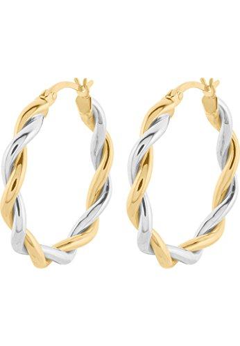 CHRIST Gold Damen-Creolen 375er Gelbgold, 375er Weißgold One Size 87057941