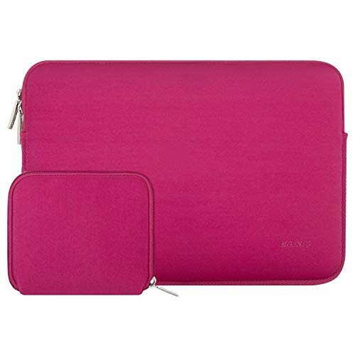 MOSISO Laptop Sleeve Kompatibel mit 13-13,3 Zoll MacBook Pro, MacBook Air, Notebook Computer, Wasserabweisend Neopren Tasche mit Klein Fall, Rose Rot