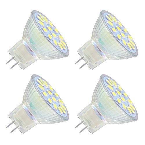 Bombilla LED GU4 MR11 12V para Foco Cocina, Luz Blanca Fria 6000K, No Regulable, Luz 120º, 4W LED para Sustituir Halógenos de 35W, AC/DC 12V-24V Foco Empotrable LED para Techo/Baño, pack de 4