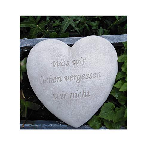 RDI Grabherz Spruch Grabschmuck Grab Herz - was wir lieben vergessen wir Nicht- f. Grabgesteck Grabdeko Trauerherz