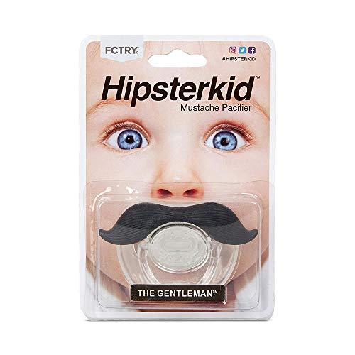 Hipsterkid BPA Free Mustachifier for Infants & Toddlers 0-6 Months, Unisex, Baby Orthodontic Mustache Pacifier - Gentlemen Black