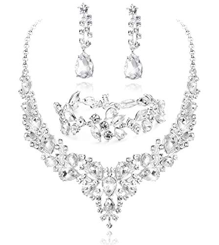 LOYALLOOK Crystal Bridal Jewelry Set for Women Rhinestone Necklace Earrings Bracelet Wedding Bridesmaid Gifts fit with Wedding Dress