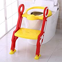 GOCART WITH G LOGO Baby Foldable Potty-Trainer Seat for Toilet Potty Stand with Ladder Step up Training Stool with Non-Slip Steps Ladder Adjustable Foldable for Boys Girls Toddlers Kids (Red)