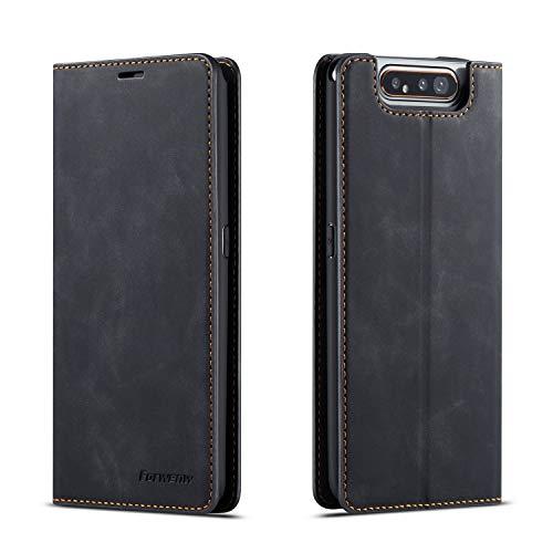 QLTYPRI Hülle für Samsung Galaxy A80 A90, Premium Dünne Ledertasche Handyhülle mit Kartenfach Ständer Flip Schutzhülle Kompatibel mit Samsung Galaxy A80 A90 - Schwarz