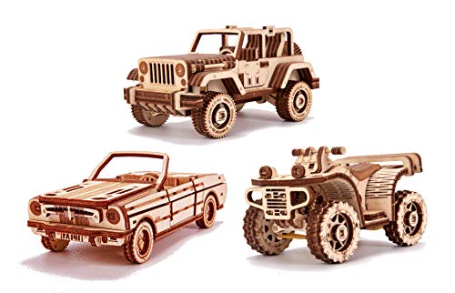 Wood Trick 3-Pack Mechanical Model Cars Kits to Build - Cabriolet, Safari, ATV - 3D Wooden Puzzle for Adults and Kids