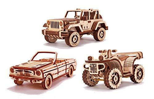 Wood Trick - Set di Automobili - Puzzle 3D di Legno Tagliato al Laser - Set di Costruzione Meccanica - Assemblaggio Senza Colla