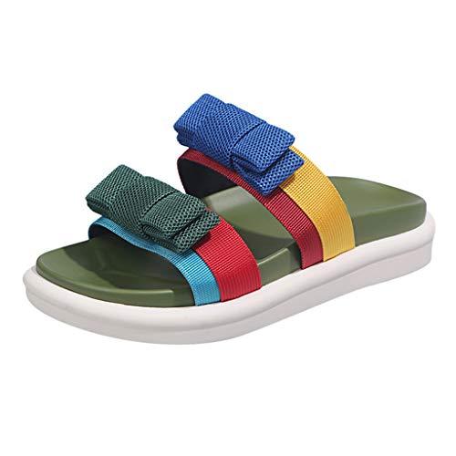 Sandalias de Punta Descubierta para Mujer,Zapatos con Plataforma Color Block Zapatos Planos de Playa Verano Zapatillas con Estampado en Contraste Sandalias con Lazo Zapatillas Bohemias Negro 35-40EU