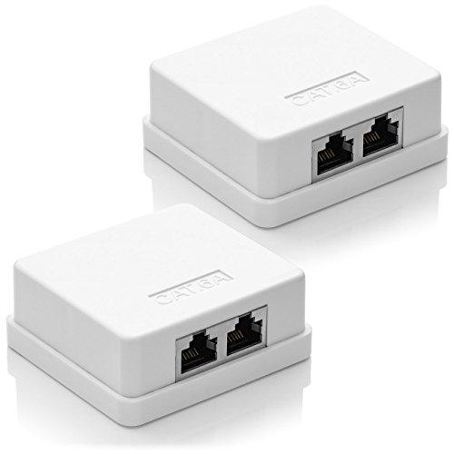 deleyCON 2X CAT 6a Netzwerkdose 2X RJ45 Buchse FTP geschirmt Aufputz Montage 10 Gbit Ethernet Netzwerk LAN Dose RAL 9003 Weiß