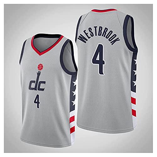Washington Wizards # 4 Russell Westbrook City Edition Malla Bordada Chaleco clásico Transpirable Uniformes Camiseta sin Mangas cómoda, Camisetas de Baloncesto para Hombre(Size:XXL,Color:A1)