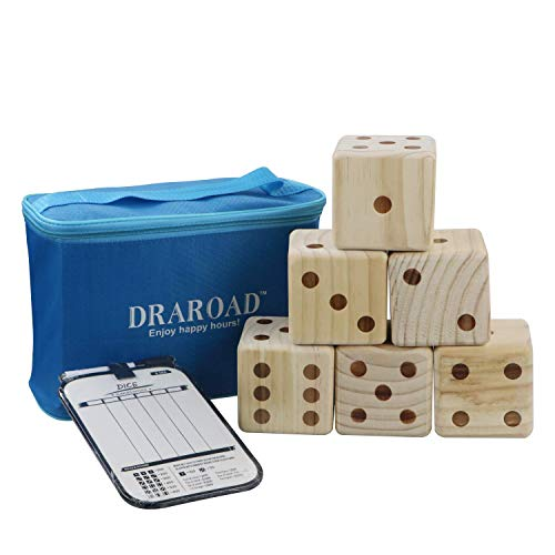 DRAROAD Giant Wooden Yard Dice Outdoor Game with Bonus Yardzee and Farkle Scoresheets and Carrying Bag, Great Lawn and Family Game