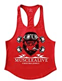 Mens Stringer Gym Bodybuilding Tank Tops Cotton for Workout with Arch Hem Red S