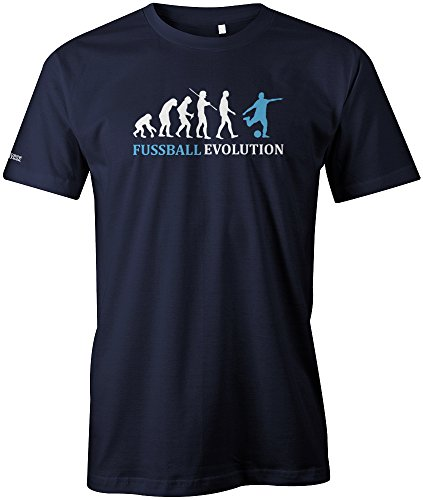 FUSSBALL EVOLUTION - Hellblau - HERREN - T-SHIRT in Navy by Jayess Gr. M