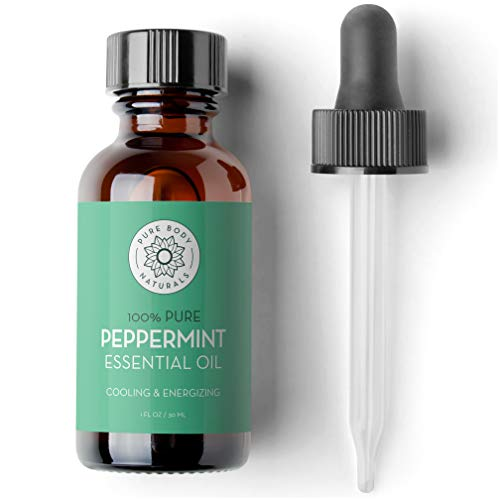 Peppermint Essential Oil 1 Fluid Ounce  100% Pure and Undiluted Therapeutic Grade Aromatherapy Oil for Diffuser Relaxation Focus Pain Relief  by Pure Body Naturals