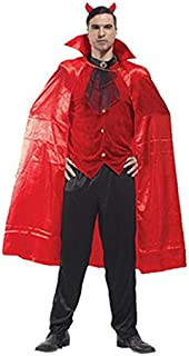 QYLOZ Halloween Costume, Men's Cosplay Costume, Adult red Devil Role Play, Including Clothes, Pants, Cloak (Suitable for Height 170cm-185cm)