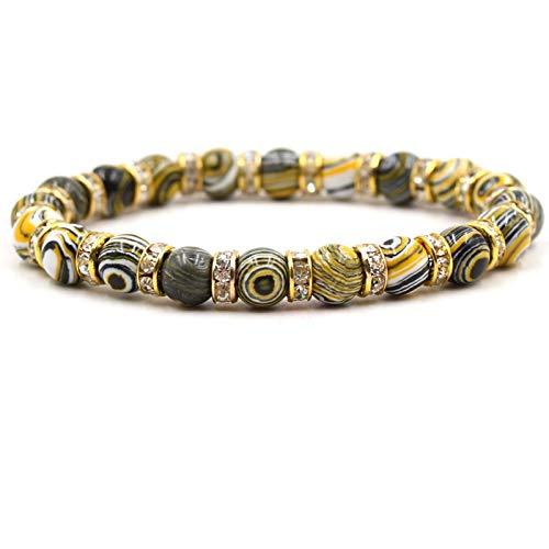 Armband van steen, armband van natuurstenen, eenkleurig, 8 mm, goudkleurig, strass, voor armbanden voor dames en heren, modesieraad, personaliseerbaar
