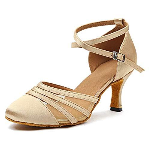 YKXLM Femmes Satin Champagne Chaussures de Danse Latine Chaussures de Salle De Bal Salsa Performance Standard,FRYCL189-8.5-JB, 38.5 EU